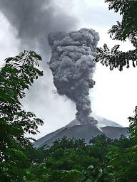 The volcano puffing