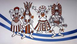 One of the beautiful depictions of local culture at the Port Moresby Domestic Departure Terminal