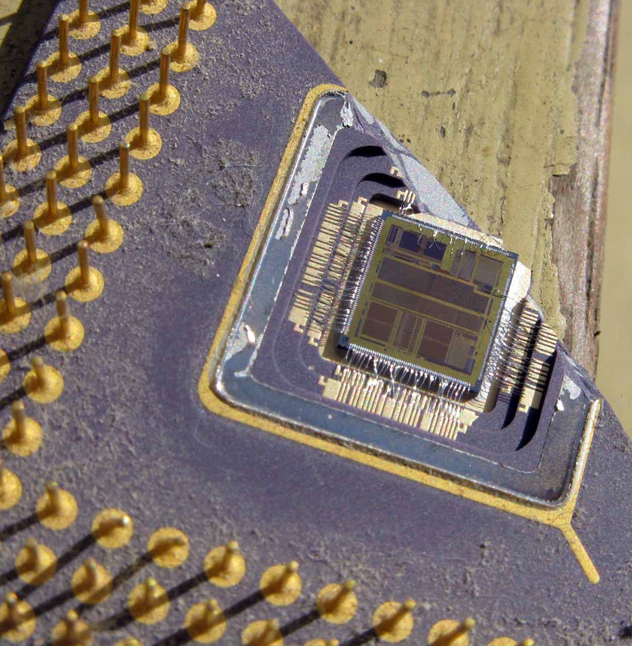 Close view of the now defunct computer chip
