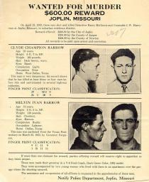 Wanted Poster for Clyde Barrow