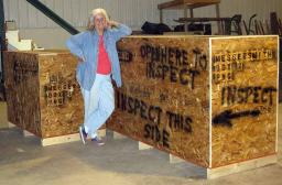 Eunie with our crates