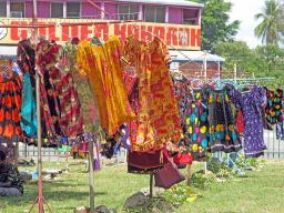 Colourful, locally made dresses