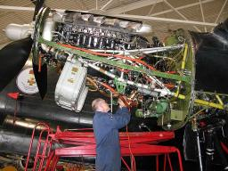 Working on a Lancaster Engine