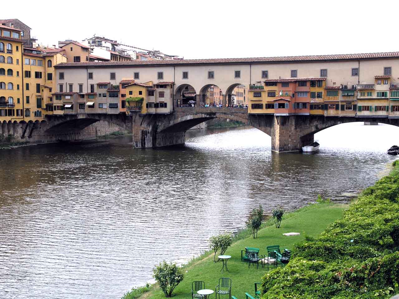 Ponte Vecchio (Old Bridge) is the oldest bridge in Florence crossing the river Arno.