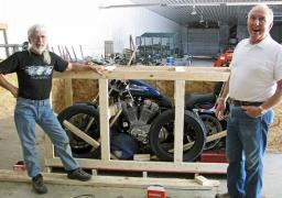 The Harley in its crate