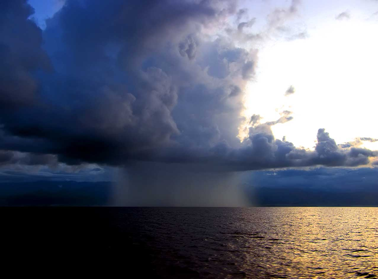 A fierce little rainshower along the north coast of Papua New Guinea