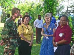 Captain Rhoades, Leslie Livingood, Maureen Hill (Treasurer of the Rotary Club of Madang), and Hal Daniel (President of the Rotary Club of Madang)