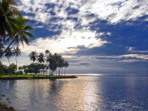 Astrolabe Bay reflects a brooding sky in Madang, Papua New Guinea