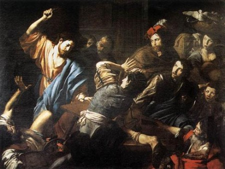 Jesus giving the money changers a sound thrashing