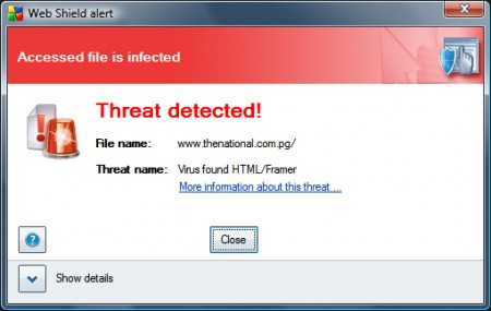 The AVG threat warning for the HTML/Framer virus