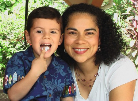 Heidi and her son Keyen in El Salvador on his 5th birthday