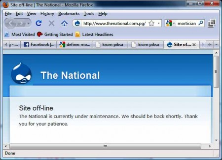 The National is off-line. Are they getting rid of the virus?