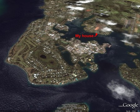 A nice Google Earth rendering of Madang Town showing my house