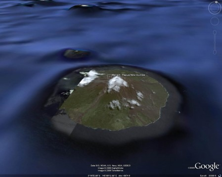 A Google Earth image of Manam Island