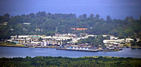 Madang Wharf telephoto shot from Nob Nob Mountain