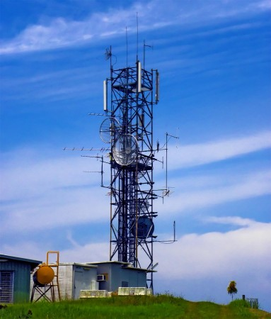 The main communications tower on Nob Nob Mountain
