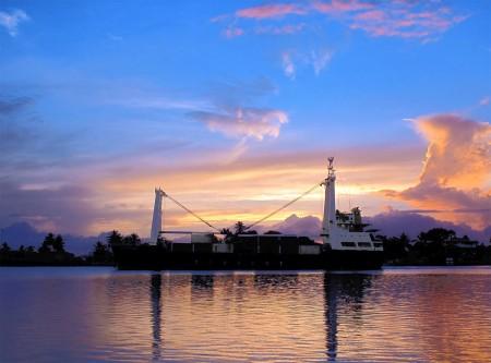 Leaky boat sunrise