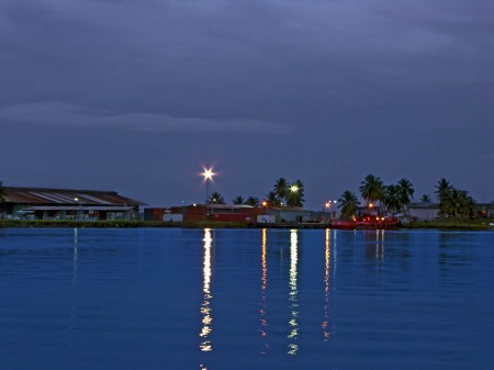 Main wharf in Madang at dusk