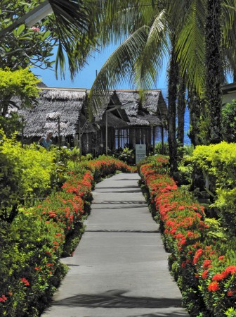 Looking down the main walkway of the Madang Lodge