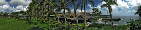 A panoramic shot of the Madang Lodge Restaurant area