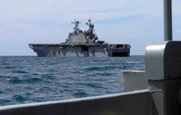 Meeting the USS Peleliu at sea