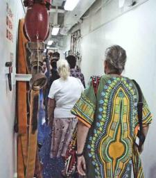 Down a passageway inside the USS Peleliu on our way to our 'briefing""