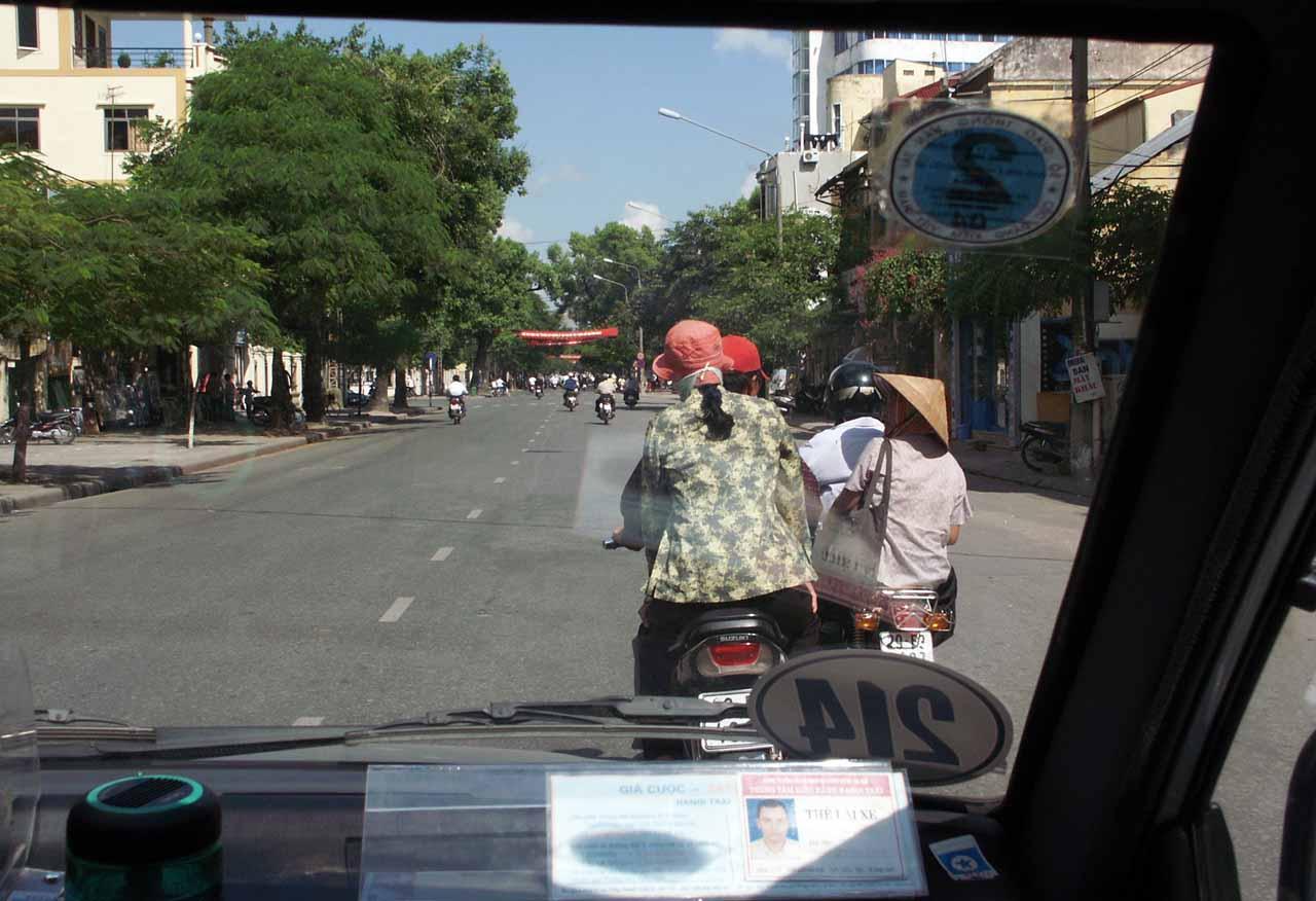 An astonishing scene - only a few motorbikes in sight in Hanoi
