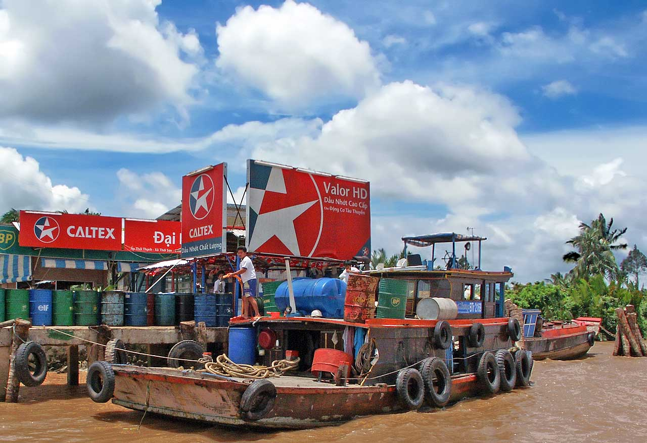 Refuel your boat here on the Mekong Delta