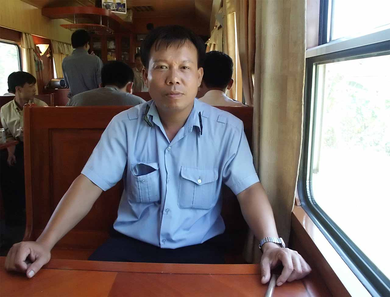 The engineer of the train from Hanoi to Hoi An, Vietnam