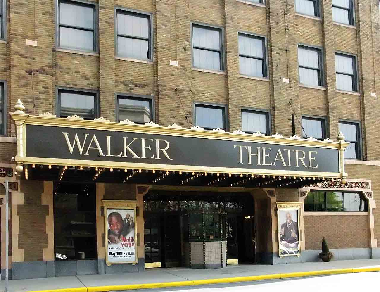 Main entrance of the Walker Theatre in Indianapolis, Indiana