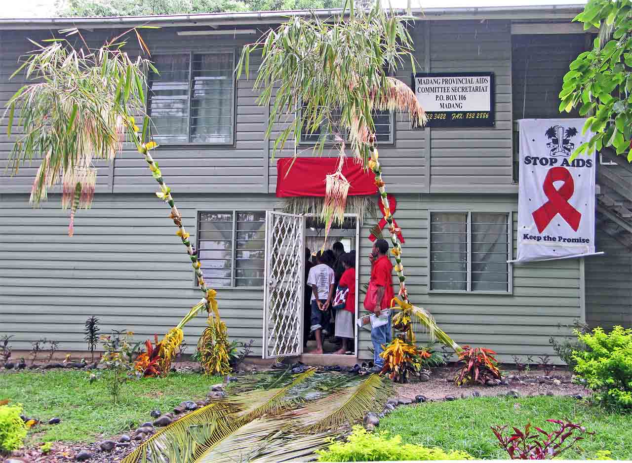 Madang Prov. AIDS Committee Secretariat Office, decorated in traditional Yabob style